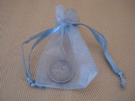 Lucky 'Silver' Sixpence in SILVER Organza Bag